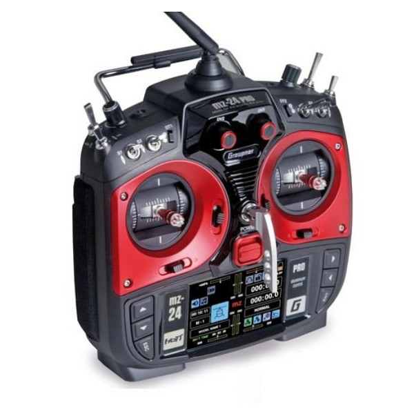 mz-24 PRO 12 Channel 2.4G.HZ HoTT Color TFT Radio System Mode 1/2 (Red)